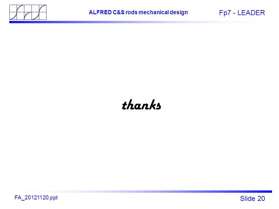 Fp7 - LEADER Slide 20 ALFRED C&S rods mechanical design FA_20121120.ppt thanks