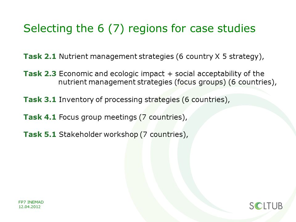 Selecting the 6 (7) regions for case studies Task 2.1 Nutrient management strategies (6 country X 5 strategy), Task 2.3 Economic and ecologic impact +