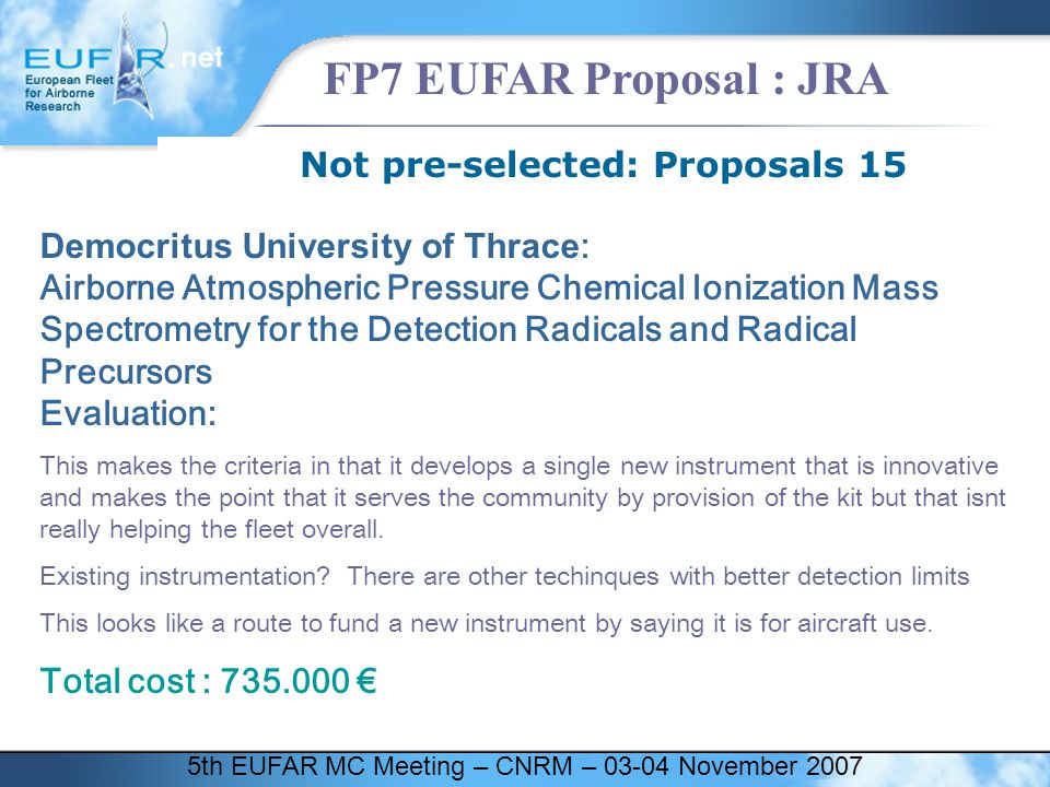 5th EUFAR MC Meeting – CNRM – 03-04 November 2007 FP7 EUFAR Proposal : JRA Not pre-selected: Proposals 15 Democritus University of Thrace : Airborne A