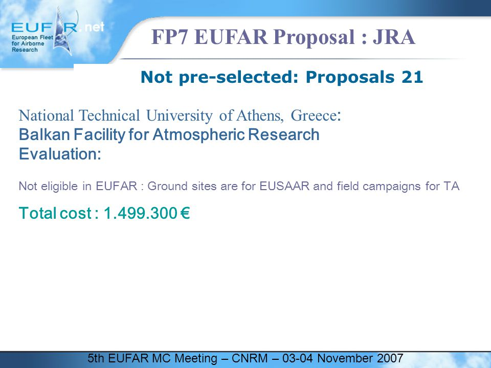 5th EUFAR MC Meeting – CNRM – 03-04 November 2007 FP7 EUFAR Proposal : JRA Not pre-selected: Proposals 21 National Technical University of Athens, Gre