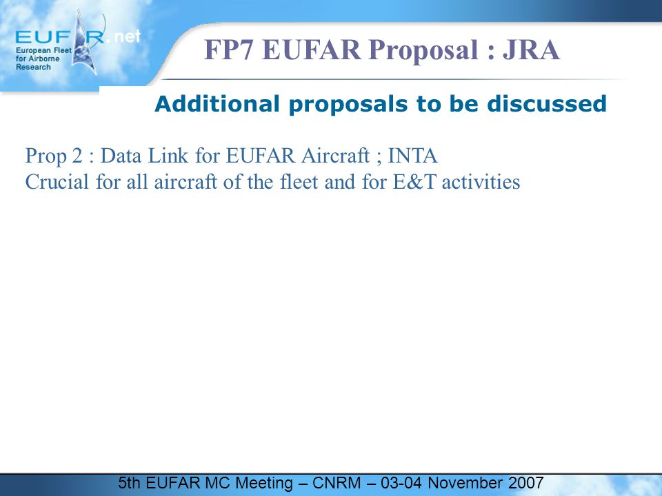 5th EUFAR MC Meeting – CNRM – 03-04 November 2007 FP7 EUFAR Proposal : JRA Additional proposals to be discussed Prop 2 : Data Link for EUFAR Aircraft