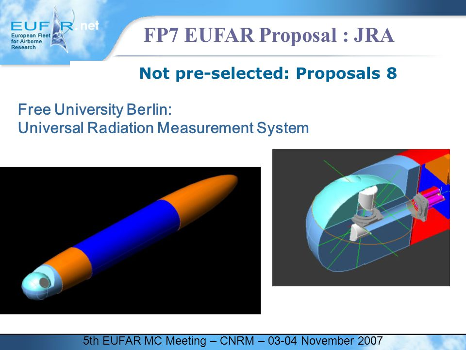 5th EUFAR MC Meeting – CNRM – 03-04 November 2007 FP7 EUFAR Proposal : JRA Not pre-selected: Proposals 8 Free University Berlin: Universal Radiation M