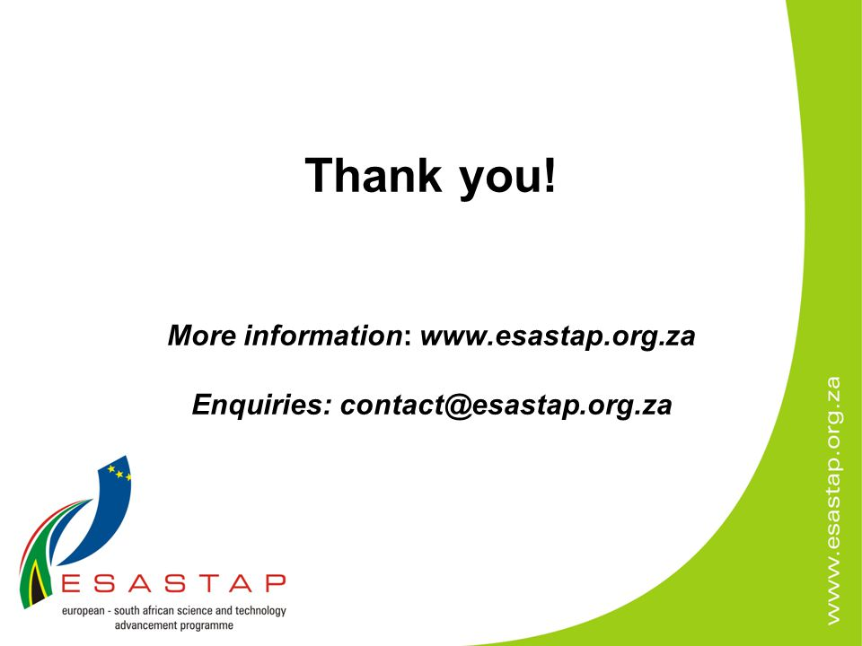 Thank you! More information: www.esastap.org.za Enquiries: contact@esastap.org.za