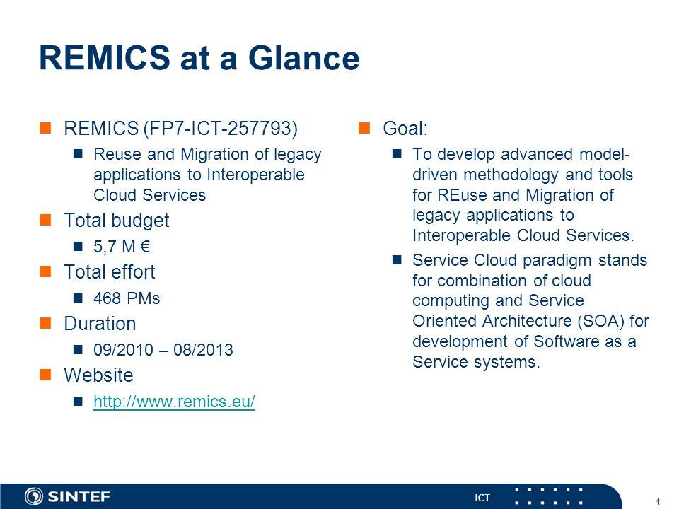 ICT REMICS at a Glance REMICS (FP7-ICT-257793) Reuse and Migration of legacy applications to Interoperable Cloud Services Total budget 5,7 M € Total e