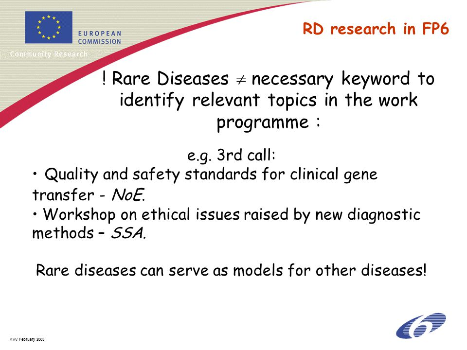 AVV February 2005 e.g. 3rd call: Quality and safety standards for clinical gene transfer - NoE. Workshop on ethical issues raised by new diagnostic me