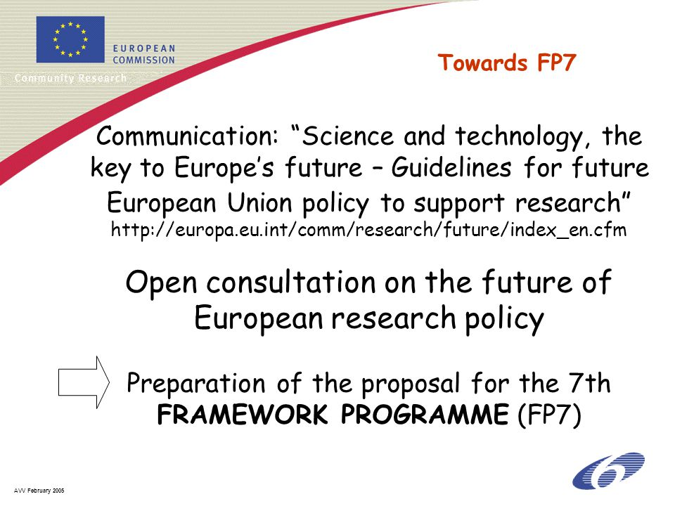 AVV February 2005 Communication: Science and technology, the key to Europe's future – Guidelines for future European Union policy to support research http://europa.eu.int/comm/research/future/index_en.cfm Open consultation on the future of European research policy Preparation of the proposal for the 7th FRAMEWORK PROGRAMME (FP7) Towards FP7