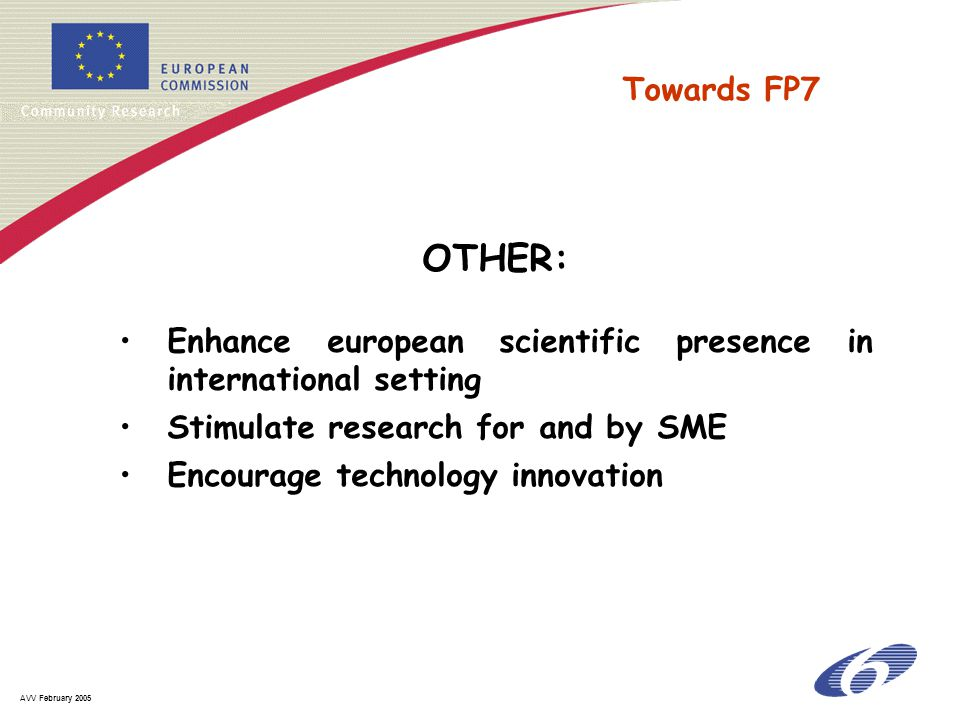 AVV February 2005 OTHER: Enhance european scientific presence in international setting Stimulate research for and by SME Encourage technology innovati