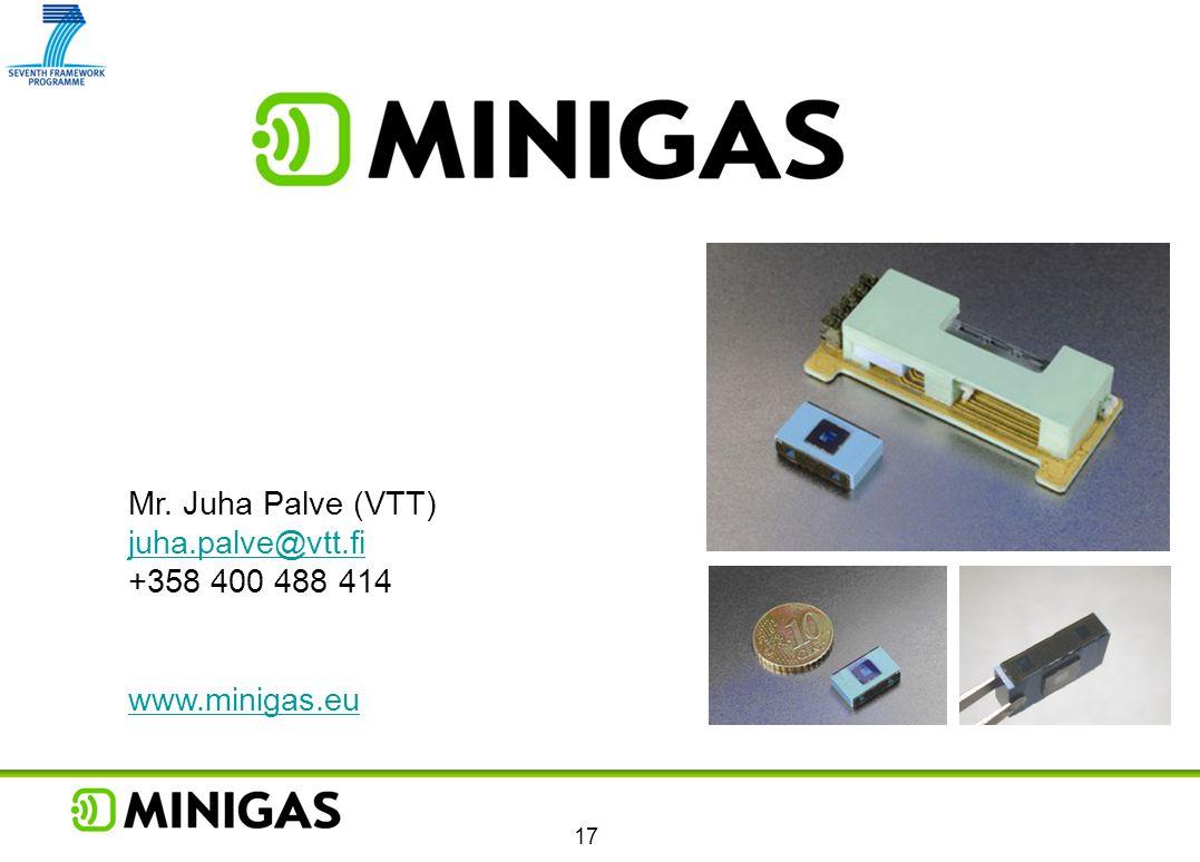 Mr. Juha Palve (VTT) juha.palve@vtt.fi +358 400 488 414 www.minigas.eu 17