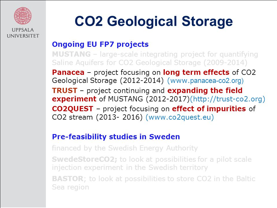 CO2 Geological Storage Ongoing EU FP7 projects MUSTANG – large-scale integrating project for quantifying Saline Aquifers for CO2 Geological Storage (2009-2014) Panacea – project focusing on long term effects of CO2 Geological Storage (2012-2014) (www.