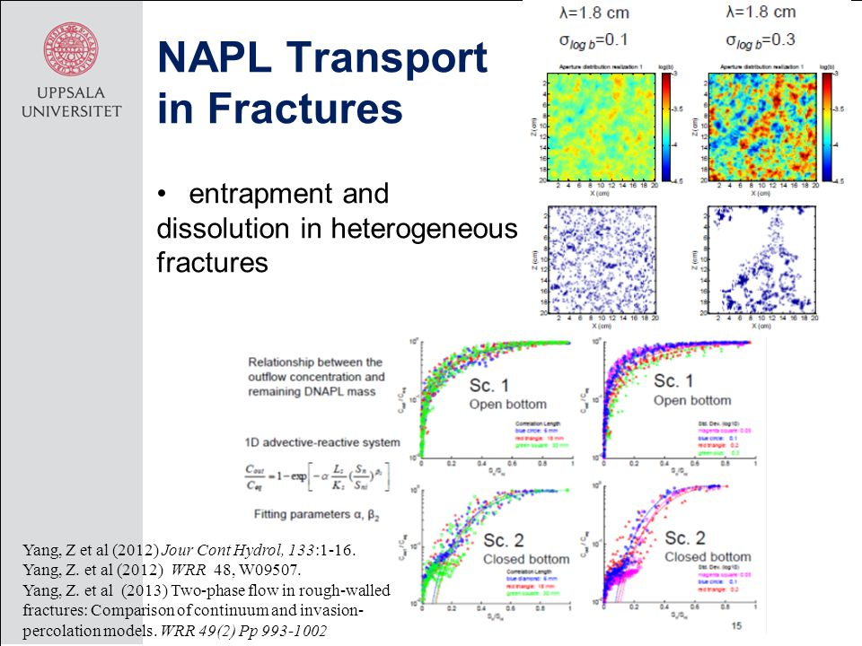 entrapment and dissolution in heterogeneous fractures NAPL Transport in Fractures Yang, Z et al (2012) Jour Cont Hydrol, 133:1-16.
