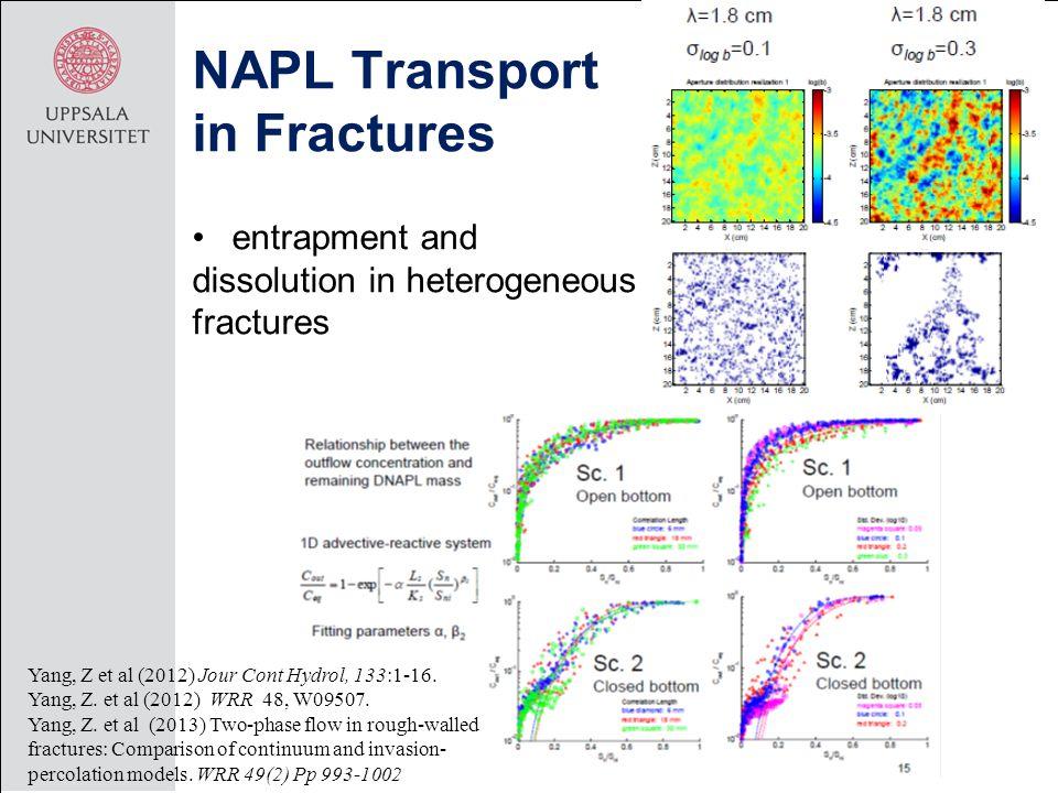 entrapment and dissolution in heterogeneous fractures NAPL Transport in Fractures Yang, Z et al (2012) Jour Cont Hydrol, 133:1-16. Yang, Z. et al (201