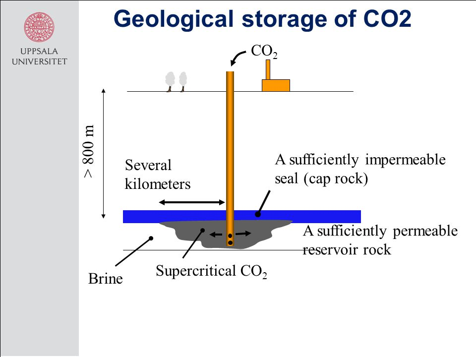 Geological storage of CO2 CO 2 > 800 m Several kilometers Supercritical CO 2 Brine A sufficiently impermeable seal (cap rock) A sufficiently permeable reservoir rock