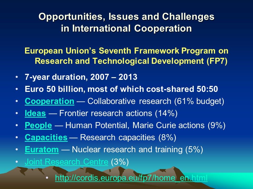 Opportunities, Issues and Challenges in International Cooperation European Union's Seventh Framework Program on Research and Technological Development (FP7) 7-year duration, 2007 – 2013 Euro 50 billion, most of which cost-shared 50:50 Cooperation — Collaborative research (61% budget)Cooperation Ideas — Frontier research actions (14%)Ideas People — Human Potential, Marie Curie actions (9%)People Capacities — Research capacities (8%)Capacities Euratom — Nuclear research and training (5%)Euratom Joint Research Centre (3%)Joint Research Centre http://cordis.europa.eu/fp7/home_en.html