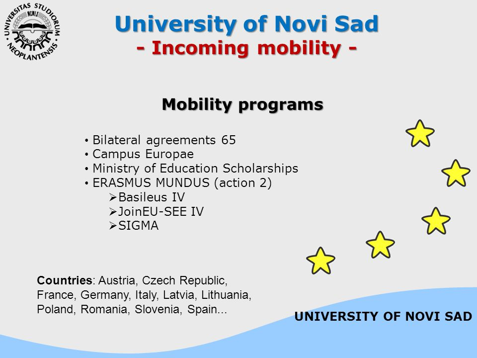 University of Novi Sad - Incoming mobility - Mobility programs Bilateral agreements 65 Campus Europae Ministry of Education Scholarships ERASMUS MUNDU