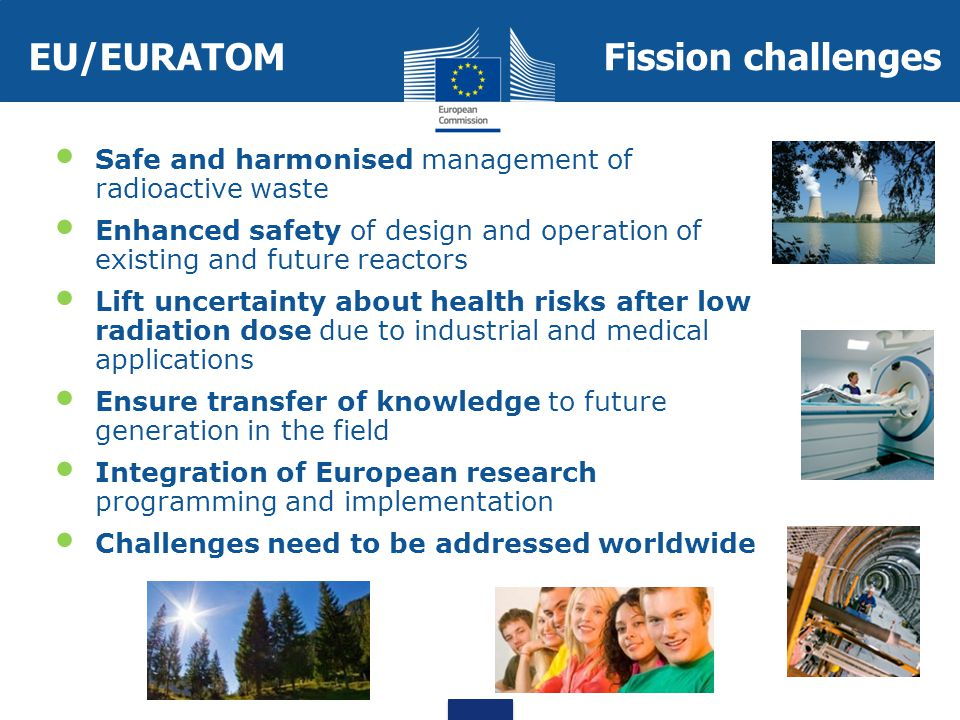 EU/EURATOMFission challenges Safe and harmonised management of radioactive waste Enhanced safety of design and operation of existing and future reactors Lift uncertainty about health risks after low radiation dose due to industrial and medical applications Ensure transfer of knowledge to future generation in the field Integration of European research programming and implementation Challenges need to be addressed worldwide