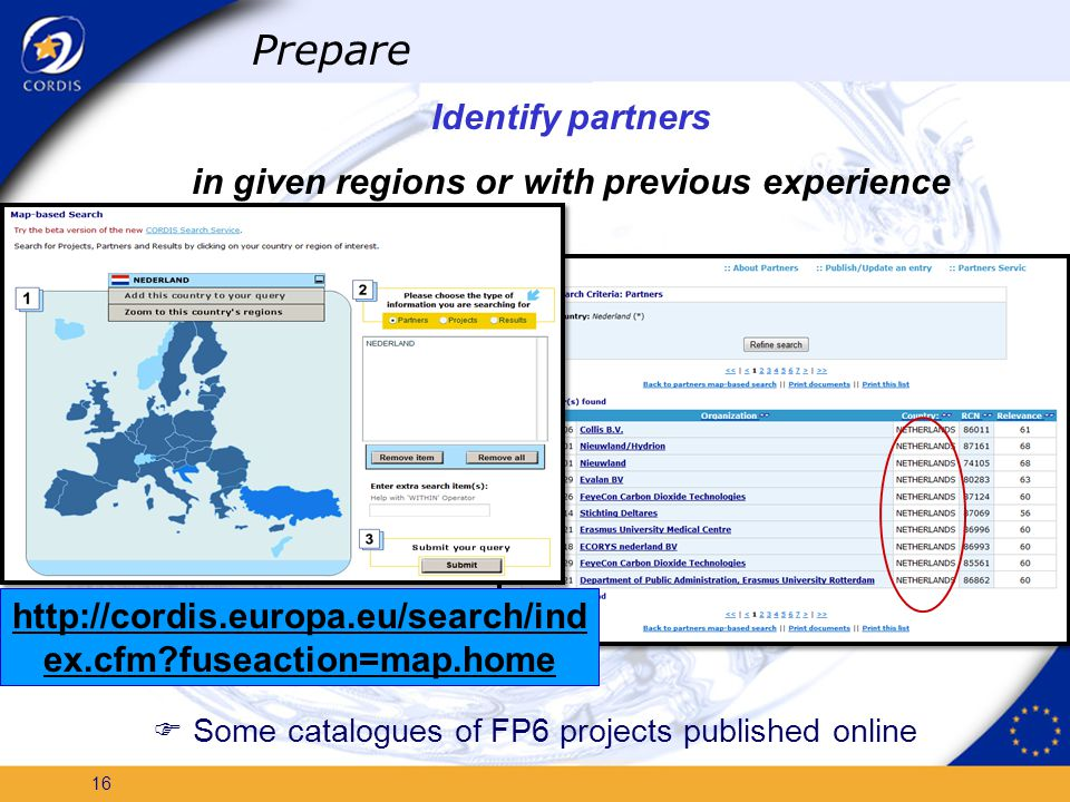 15 Dedicated FP7 activity services Easy access to ongoing FP6 projects Adding the first examples of FP7 projects http://cordis.europa.eu/fp7/kbbe/home_en.html Prepare Check if your idea is new