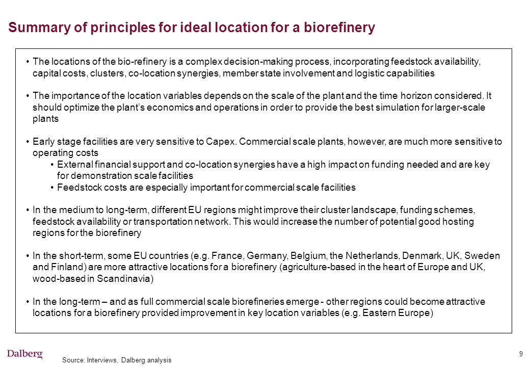 Steps to define location of demonstration biorefinery Decision 1: Build on existing facility and/or Build a new facility Decision 2 (if decided to build a new facility) Funding mechanism Feedstock, technical route, output What needs to be tested Decision 3: Selection of attractive clusters (co-location synergies) Decision 4: Selection final candidates to host the biorefinery Specific biorefinery location Availability of time and financial resources Project match with existing facilities Open funding windows Member states' support Consortia's private interests, state the technology Economic synergies Operability, access to talent pool and expertise Feasibility to join the cluster (regulation, capacity, etc.) Existence of local feedstock market close to cluster Degree of industrialization of agriculture/forest processing Crops/forest residues yields Access to transportation network Source: Dalberg analysis Decision Criteria: Decision outcome: Decision to build a new plant and/or to join an existing facility Selection of country or high-level region Selection of most attractive clusters within the selected regions Selection of key clusters offering the best co-location synergies, feedstock availability and transportation costs