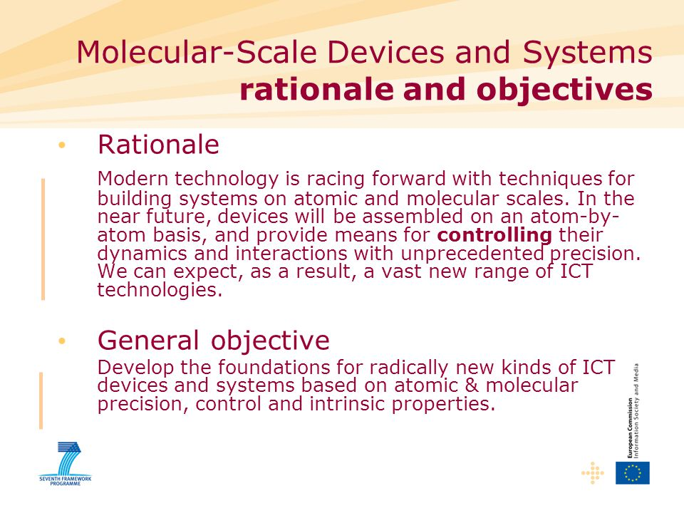 Molecular-Scale Devices and Systems rationale and objectives Rationale Modern technology is racing forward with techniques for building systems on atomic and molecular scales.