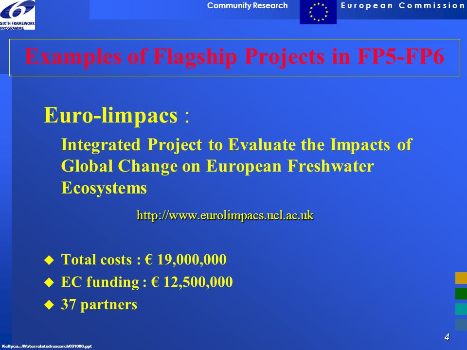4 E u r o p e a n C o m m i s s i o nCommunity Research Kellyca…/Waterrelatedresearch031006.ppt Examples of Flagship Projects in FP5-FP6 Euro-limpacs
