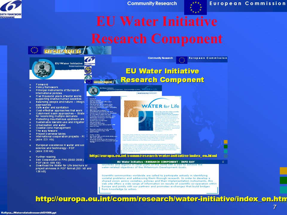 7 E u r o p e a n C o m m i s s i o nCommunity Research Kellyca…/Waterrelatedresearch031006.ppt http://europa.eu.int/comm/research/water-initiative/in