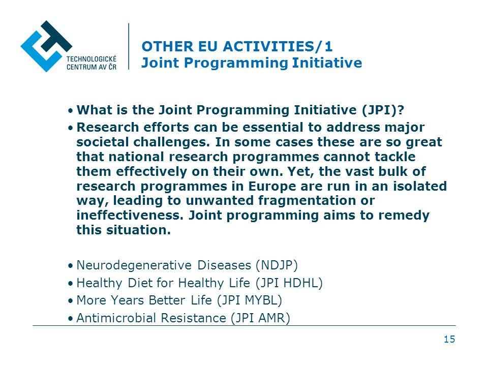 OTHER EU ACTIVITIES/1 Joint Programming Initiative 15 What is the Joint Programming Initiative (JPI).