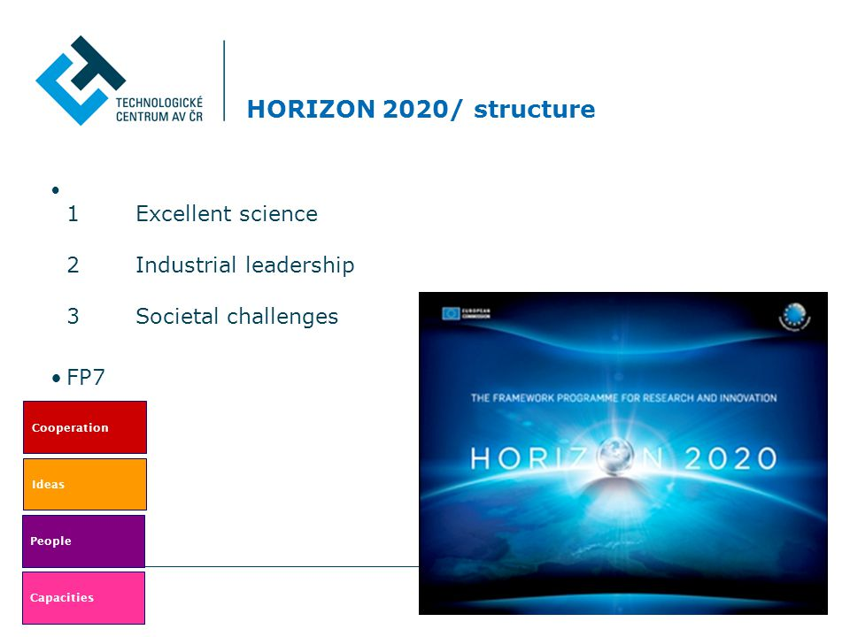 Novinky H 2020 € 80.2 Billion marked in the Commission proposals for 2014- 2020 EU budget (June 2011) Covering current funding for: The 7th Framework Programme (FP7) for research, technological development and demonstration – €53 billion (2007-13).
