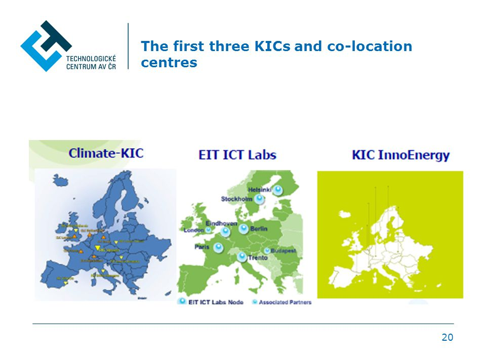 The first three KICs and co-location centres 20