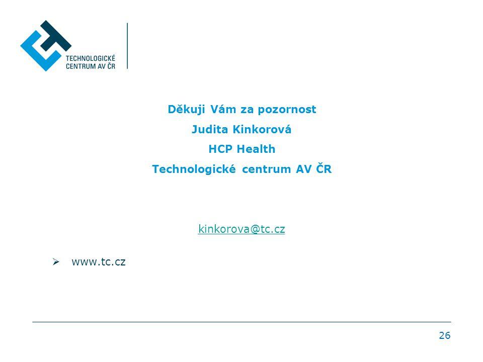 Děkuji Vám za pozornost Judita Kinkorová HCP Health Technologické centrum AV ČR kinkorova@tc.cz  www.tc.cz 26