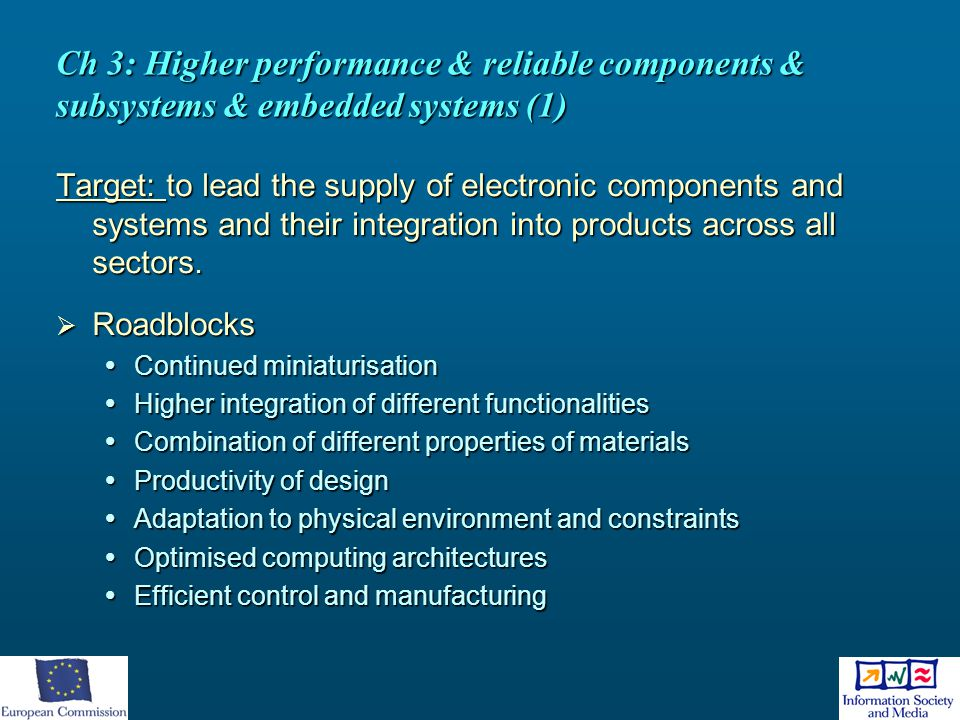 Ch 3: Higher performance & reliable components & subsystems & embedded systems (1) Target: to lead the supply of electronic components and systems and