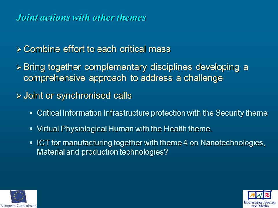 Joint actions with other themes  Combine effort to each critical mass  Bring together complementary disciplines developing a comprehensive approach