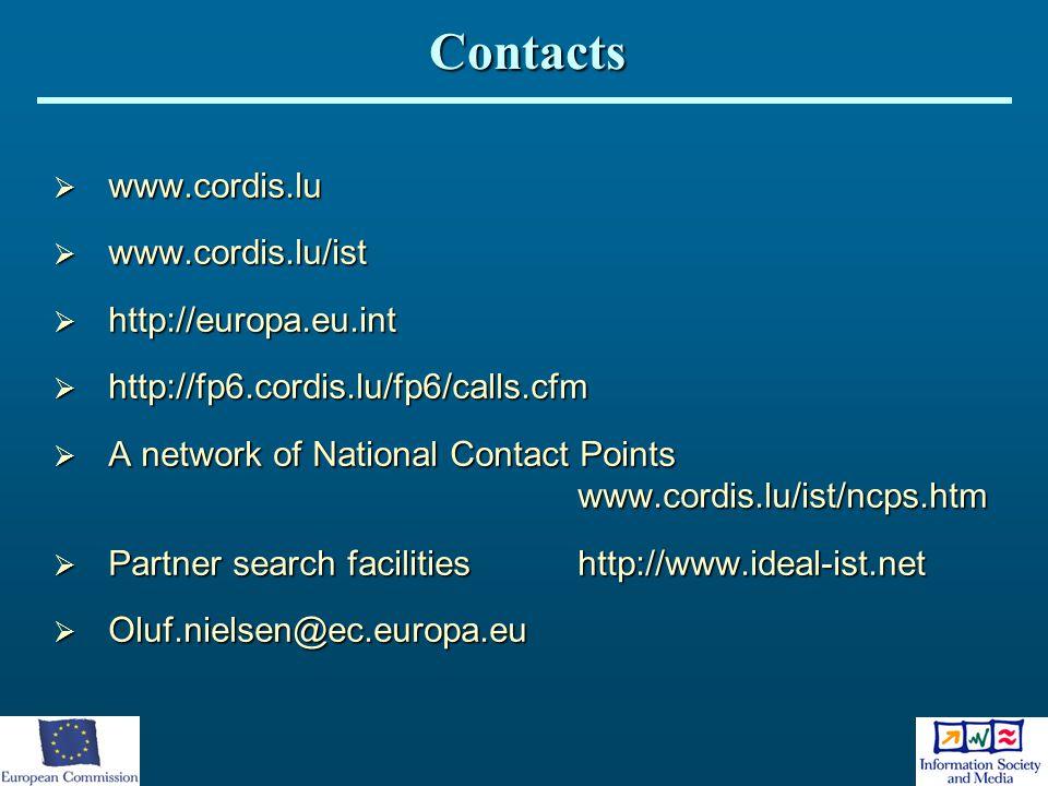 www.cordis.lu  www.cordis.lu/ist  http://europa.eu.int  http://fp6.cordis.lu/fp6/calls.cfm  A network of National Contact Points www.cordis.lu/i