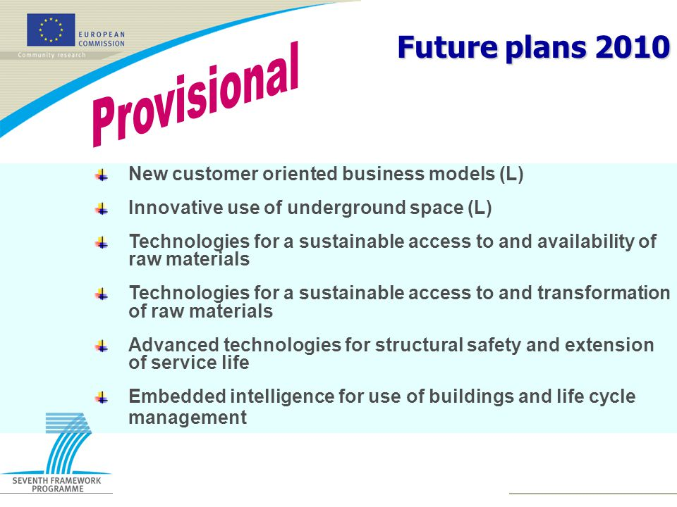 Future plans 2010 New customer oriented business models (L) Innovative use of underground space (L) Technologies for a sustainable access to and availability of raw materials Technologies for a sustainable access to and transformation of raw materials Advanced technologies for structural safety and extension of service life Embedded intelligence for use of buildings and life cycle management
