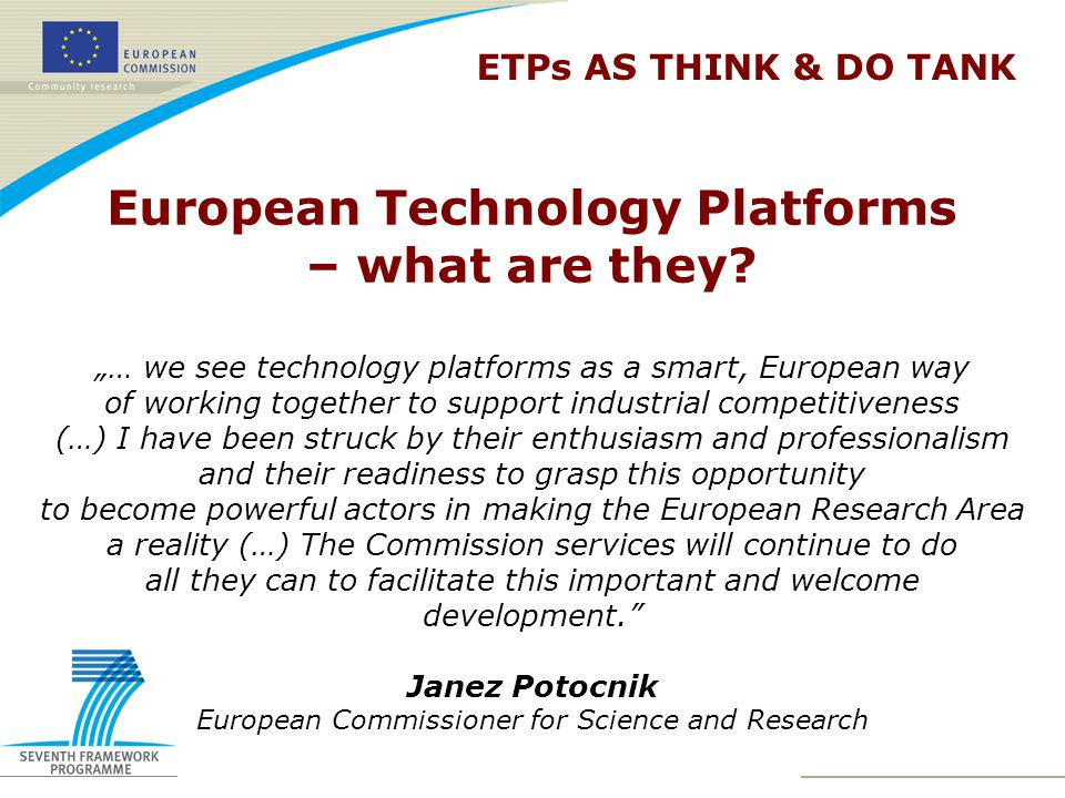 European Technology Platforms – what are they.