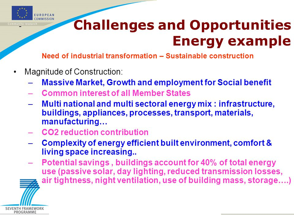 Need of industrial transformation – Sustainable construction - Challenges and Opportunities Energy example Magnitude of Construction: –Massive Market, Growth and employment for Social benefit –Common interest of all Member States –Multi national and multi sectoral energy mix : infrastructure, buildings, appliances, processes, transport, materials, manufacturing… –CO2 reduction contribution –Complexity of energy efficient built environment, comfort & living space increasing..