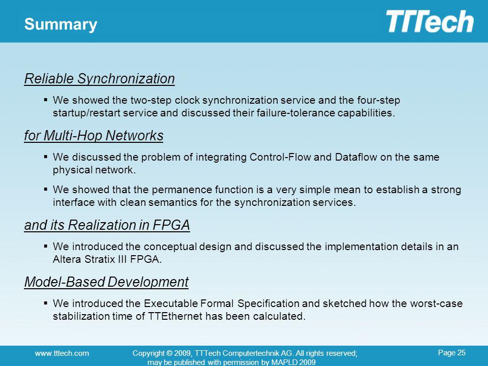 Page 25 www.tttech.comCopyright © 2009, TTTech Computertechnik AG.
