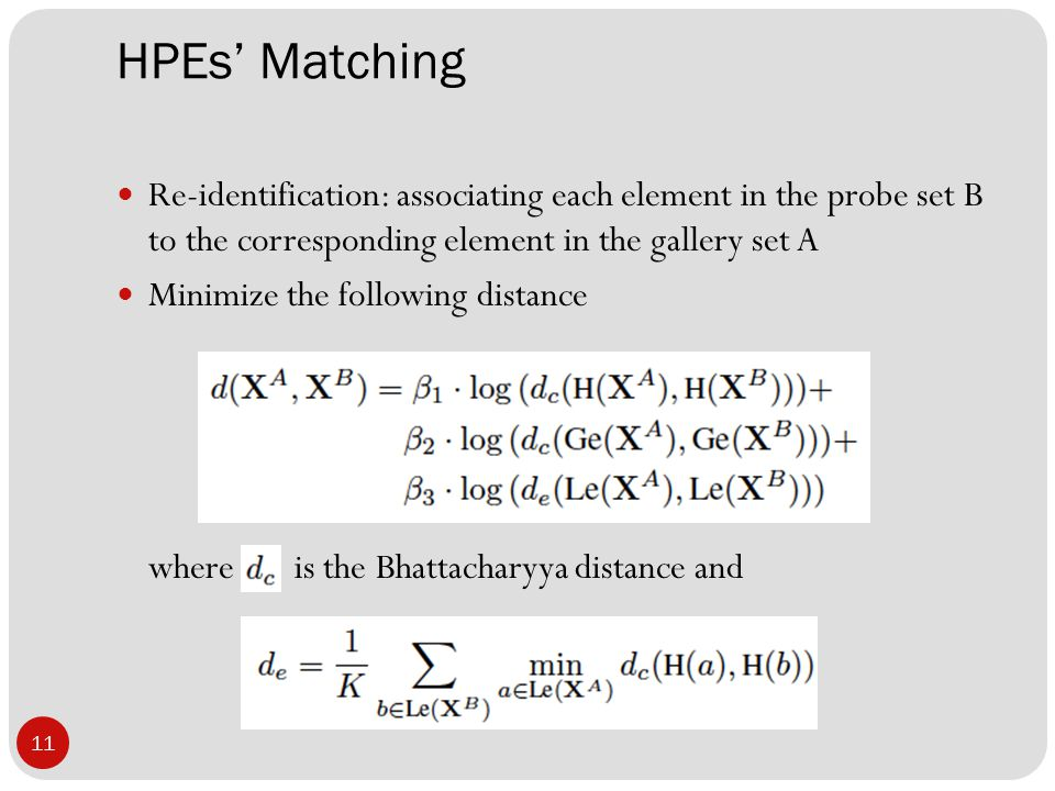 HPEs' Matching 11 Re-identification: associating each element in the probe set B to the corresponding element in the gallery set A Minimize the following distance where is the Bhattacharyya distance and