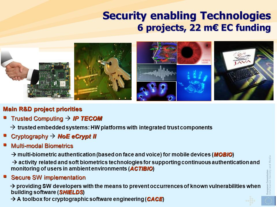 Main R&D project priorities  Trusted ComputingIP TECOM  Trusted Computing  IP TECOM  trusted embedded systems: HW platforms with integrated trust