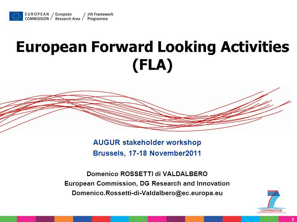 1 European Forward Looking Activities (FLA) AUGUR stakeholder workshop Brussels, 17-18 November2011 Domenico ROSSETTI di VALDALBERO European Commissio