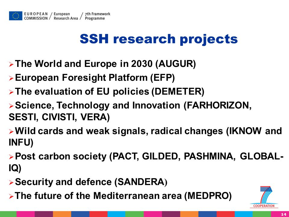 14 SSH research projects  The World and Europe in 2030 (AUGUR)  European Foresight Platform (EFP)  The evaluation of EU policies (DEMETER)  Scienc