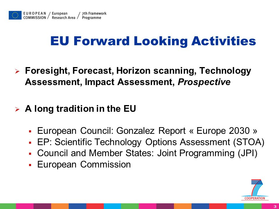 14 SSH research projects  The World and Europe in 2030 (AUGUR)  European Foresight Platform (EFP)  The evaluation of EU policies (DEMETER)  Science, Technology and Innovation (FARHORIZON, SESTI, CIVISTI, VERA)  Wild cards and weak signals, radical changes (IKNOW and INFU)  Post carbon society (PACT, GILDED, PASHMINA, GLOBAL- IQ)  Security and defence (SANDERA )  The future of the Mediterranean area (MEDPRO)