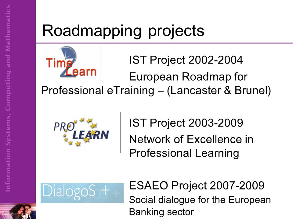 Roadmapping projects IST Project 2002-2004 European Roadmap for Professional eTraining – (Lancaster & Brunel) IST Project 2003-2009 Network of Excellence in Professional Learning ESAEO Project 2007-2009 Social dialogue for the European Banking sector