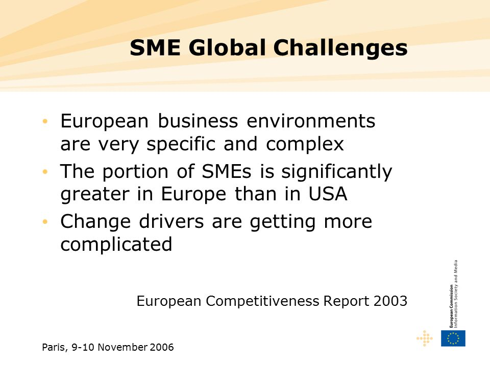 Paris, 9-10 November 2006 SME Local Challenges European SMEs have to demonstrate: –Capability to provide global presence –Capability to ensure suitable critical mass and productions volumes –Ability to improve constantly productivity and innovation levels  Pressure on European SMEs, to comply with the new rules of global competition  Need for dynamic business networking  Need for adapted European research