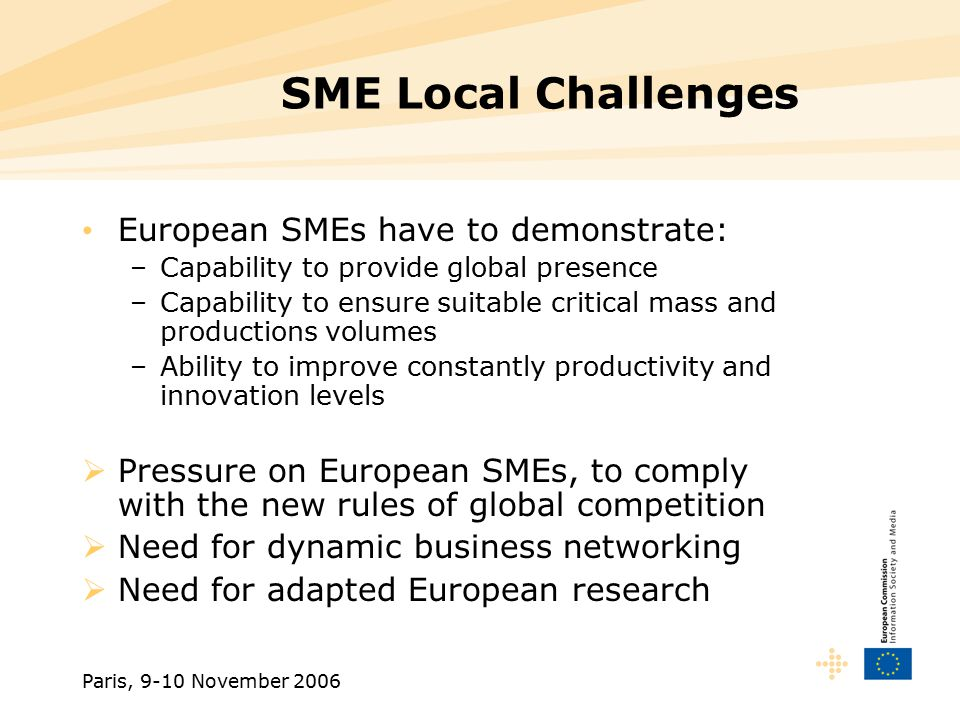 Paris, 9-10 November 2006 SME Local Challenges European SMEs have to demonstrate: –Capability to provide global presence –Capability to ensure suitable critical mass and productions volumes –Ability to improve constantly productivity and innovation levels  Pressure on European SMEs, to comply with the new rules of global competition  Need for dynamic business networking  Need for adapted European research