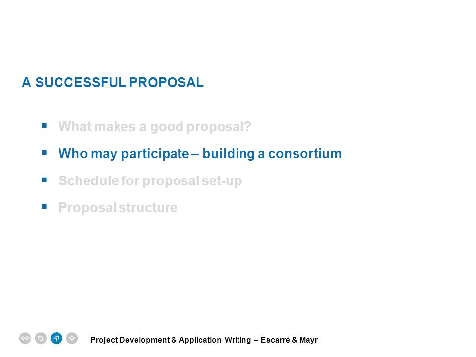 Project Development & Application Writing – Escarré & Mayr EPM EUROPEAN PROJECT MANAGEMENT TRAINING A SUCCESSFUL PROPOSAL  What makes a good proposal