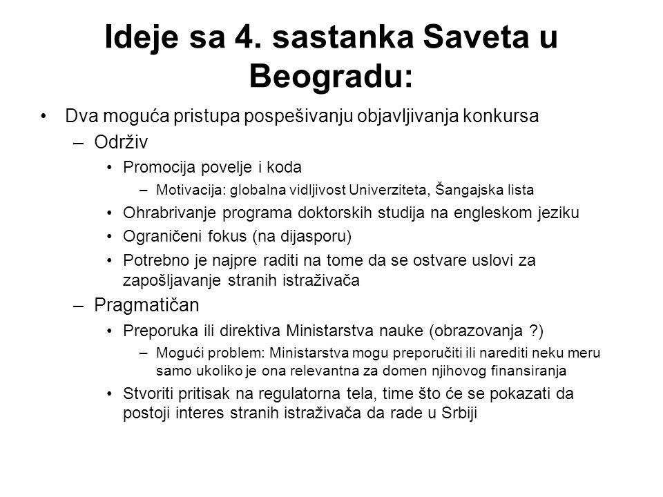 Ideje sa 4. sastanka Saveta u Beogradu: Dva moguća pristupa pospešivanju objavljivanja konkursa –Održiv Promocija povelje i koda –Motivacija: globalna