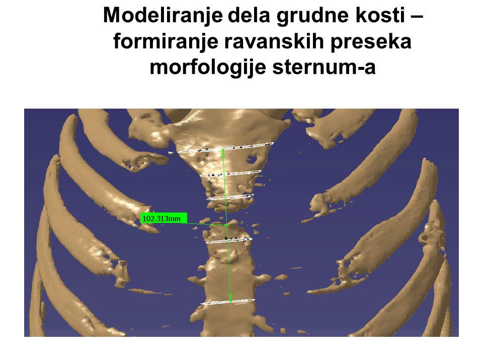 Modeliranje dela grudne kosti – formiranje ravanskih preseka morfologije sternum-a