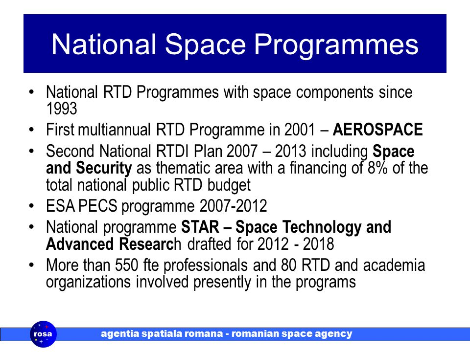 agentia spatiala romana - romanian space agency National Space Programmes National RTD Programmes with space components since 1993 First multiannual RTD Programme in 2001 – AEROSPACE Second National RTDI Plan 2007 – 2013 including Space and Security as thematic area with a financing of 8% of the total national public RTD budget ESA PECS programme 2007-2012 National programme STAR – Space Technology and Advanced Researc h drafted for 2012 - 2018 More than 550 fte professionals and 80 RTD and academia organizations involved presently in the programs