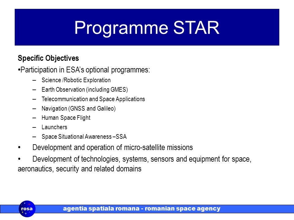 agentia spatiala romana - romanian space agency Programme STAR Specific Objectives Participation in ESA's optional programmes: – Science /Robotic Exploration – Earth Observation (including GMES) – Telecommunication and Space Applications – Navigation (GNSS and Galileo) – Human Space Flight – Launchers – Space Situational Awareness –SSA Development and operation of micro-satellite missions Development of technologies, systems, sensors and equipment for space, aeronautics, security and related domains