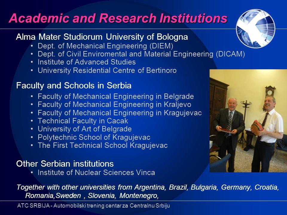 Academic and Research Institutions Alma Mater Studiorum University of Bologna Dept. of Mechanical Engineering (DIEM) Dept. of Civil Enviromental and M