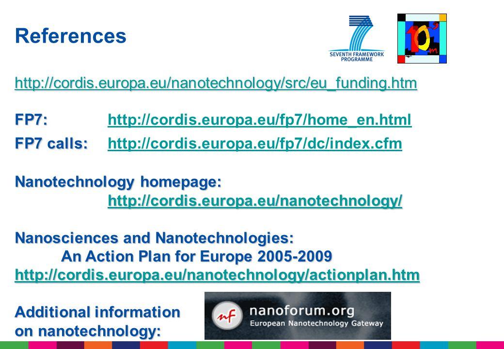 References http://cordis.europa.eu/nanotechnology/src/eu_funding.htm FP7: FP7: http://cordis.europa.eu/fp7/home_en.htmlhttp://cordis.europa.eu/fp7/home_en.html FP7 calls: FP7 calls: http://cordis.europa.eu/fp7/dc/index.cfm http://cordis.europa.eu/fp7/dc/index.cfm Nanotechnology homepage: http://cordis.europa.eu/nanotechnology/ Nanosciences and Nanotechnologies: An Action Plan for Europe 2005-2009 http://cordis.europa.eu/nanotechnology/actionplan.htm Additional information on nanotechnology: